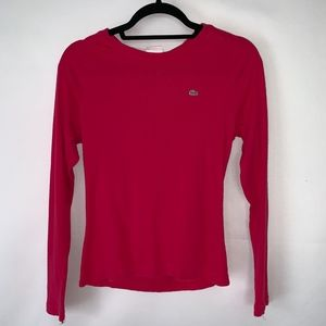 Lacoste Pink Long Sleeve Crew Neck Cotten Shirt